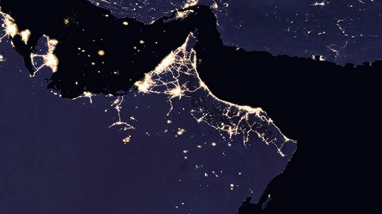 this is how uae looks like at night from space